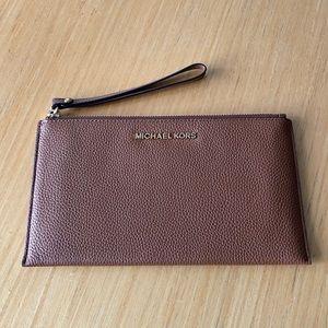 Michael Kors wristlet wallet brown leather